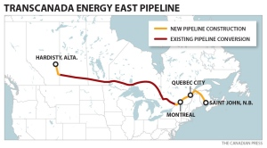 TransCanada, Energy East Pipeline Map, Courtesy Canadian Press